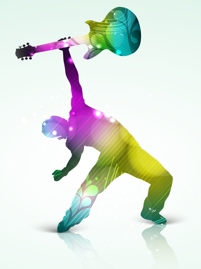 Man dancing and playing guitar.